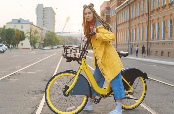 Fahrradjacke Damen Gelb